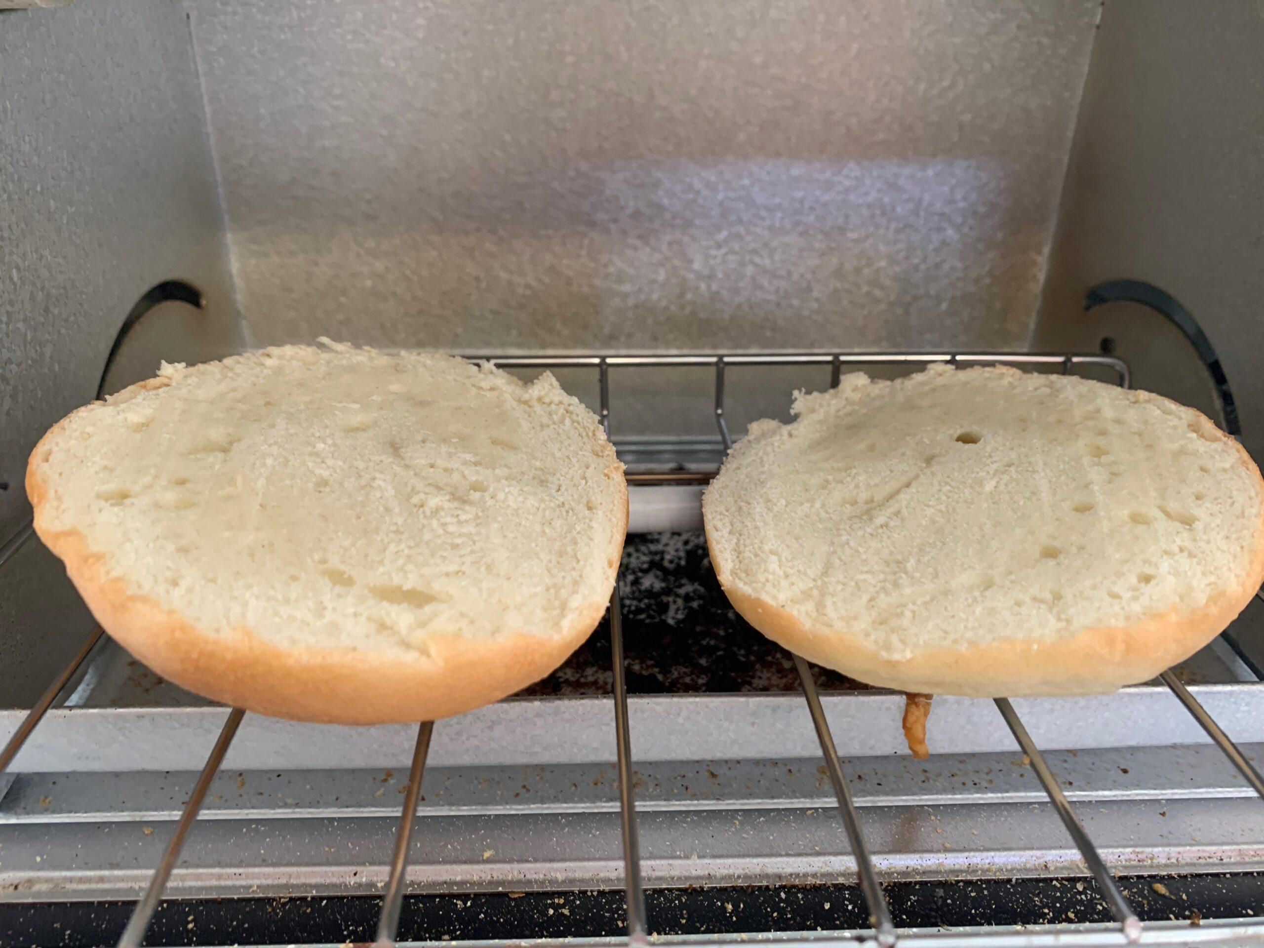ベーグルをオーブントースターで焼く